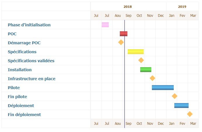Macro-planning of a project managed with Gouti